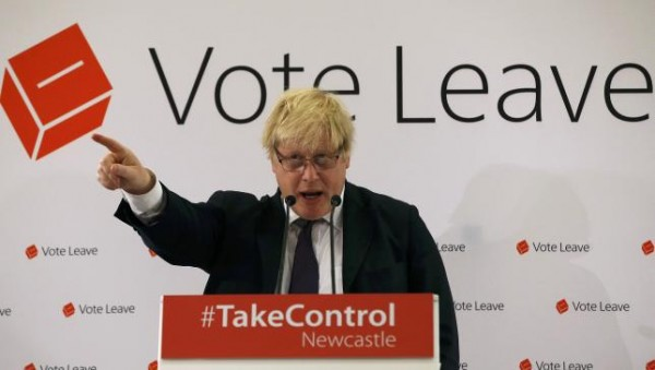 London Mayor Boris Johnson speaks at a Vote Leave rally in Newcastle,  The mayor  was born in New York and holds a US passport as well as a British one. Britain April 16, 2016. REUTERS/ANDREW YATES