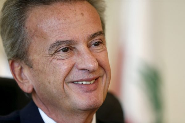 Lebanon's Central Bank Governor Riad Salameh smiles during an interview with Reuters in Beirut, Lebanon November 3, 2015. REUTERS/Mohamed Azakir/File Photo