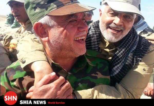 Hadi Al-Amiri , leader of the largest Iranian backed Shiite militia in Iraq the Popular Mobilisation Forces (PMF), , is shown with Iran's Gen. Qassem Soleimani who heads up all the Shiite militias outside Iran, the Quds Force. Amiri is the preferred candidates of Iran