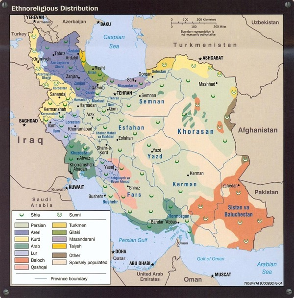 Iran ethnic distribution map