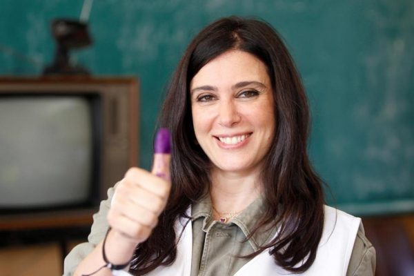 Lebanese actress and director Nadine Labaki, a Beirut Madinati candidate, showed her ink-stained finger after casting her ballot at a polling station during Beirut's municipal elections in Lebanon last May.