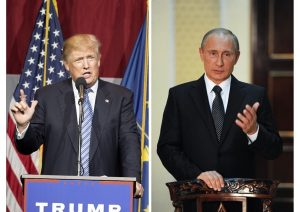 Russian President Vladimir Putin (R) praised the Republican presidential hopeful Donald Trump  (L) during his annual press conference in Moscow, on December 17, 2015.  singled him out as an absolute leader.  (AFP Photo/Natalia Kolesnikova)