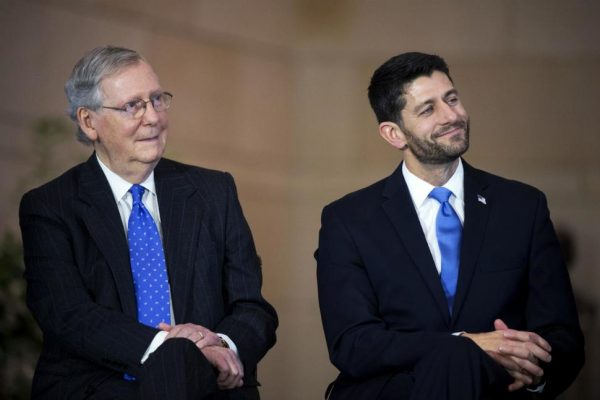 Speaker Paul D. Ryan (R-Wis.) and Senate Majority Leader Mitch McConnell (R-Ky.) . Both condemned Donald Trump's vulgar remarks about women and distanced themselves from the Republican presidential nominee