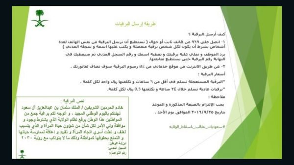 instructions on how  to send a telegram to Saudi-king on women's rights