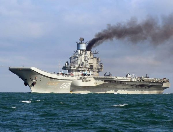 A handout photograph made available by Dover Marina.com on 21 October 2016 showing Russian aircraft carrier Admiral Kuznetsov in the English Channel, 21 October 2016. (Dover Marina.com/Handout)