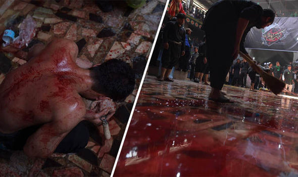 Afghan Shiite Muslims bleed during ritual self-flagellation as part of Ashura commemorations