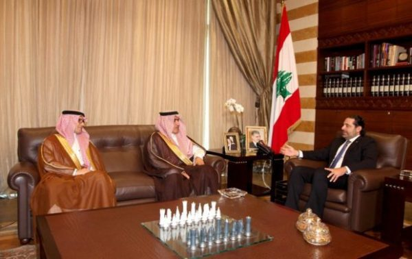 Former PM and Future Movement leader Saad Hariri meeting with Saudi Arabia's Arab Gulf Affairs Minister Thamer al-Sabhan. NNA