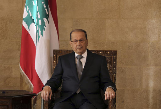 Lebanese President Michel Aoun, sits at the presidential palace in Baabda, east of Beirut, Lebanon, Monday, Oct. 31, 2016. Lebanon's parliament on Monday elected Michel Aoun, an 81-year-old former army commander and strong ally of the militant group Hezbollah, as the country's president, ending a more than two-year vacuum in the top post and a political crisis that brought state institutions perilously close to collapse. (AP Photo/Bilal Hussein)