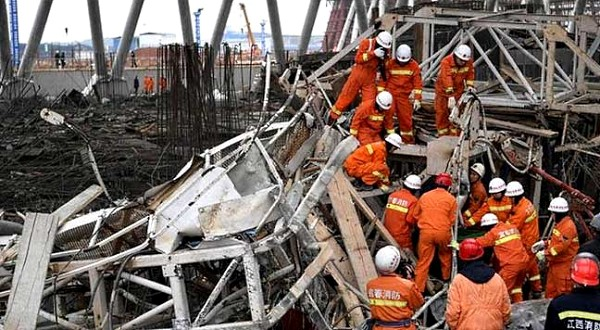 AT least 67 people were killed when part of a power station under construction in China collapsed Thursday, the official Xinhua news agency reported, the latest industrial accident in a country with a dismal safety record.