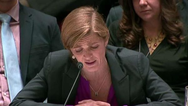 Samantha Power, United States Ambassador to the United Nations. US abstained  in key Israel vote, clearing way for condemnation of Israeli settlements in the West Bank