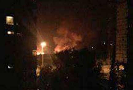 Mezzeh Military Airport on fire after airstrike