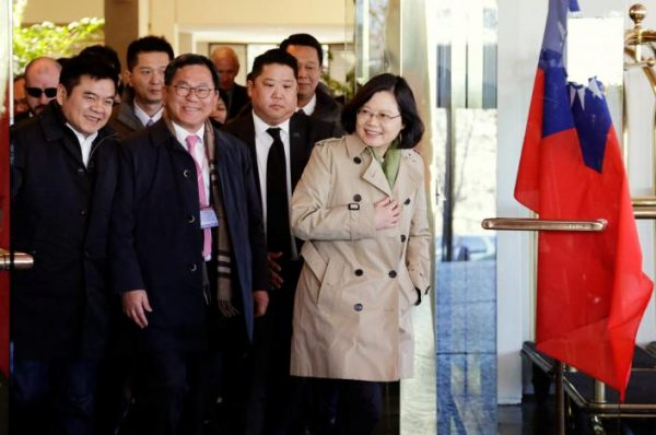 """Taiwan President Tsai Ing-wen exits at the Omni Houston Hotel during a """"transit stop"""" enroute to Central America, in Houston, Texas, U.S., January 7, 2017.  REUTERS/James Nielsen"""