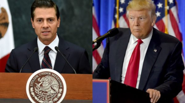 Mexican President Enrique Peña Nieto (L) on Thursday canceled a meeting with US President Donald Trump(R)