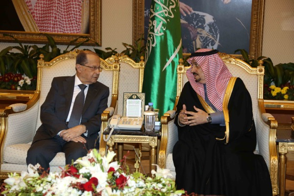 Saudi prince Faisal bin Bandar receives the Lebanese president Michel Aoun at Riyadh airport on January 9, 2017. Mr Aoun arrived in Saudi Arabia with a number of ministers for two-day official visit before travelling on to Qatar. Dalati Nohra / EPA