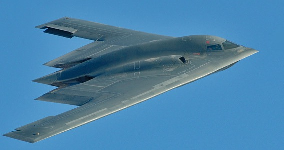 The B-2 Spirit is a multi-role bomber capable of delivering both conventional and nuclear munitions. A dramatic leap forward in technology, the bomber represents a major milestone in the U.S. bomber modernization program. The B-2 brings massive firepower to bear, in a short time, anywhere on the globe through previously impenetrable defenses.