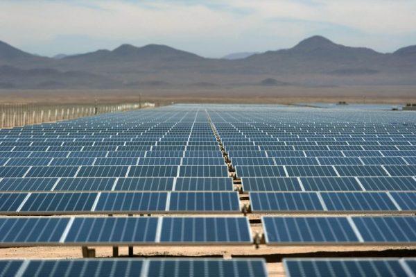A solar farm in the Atacama desert, northern Chile. Photographer: Vladimir Rodas/AFP via Getty Images