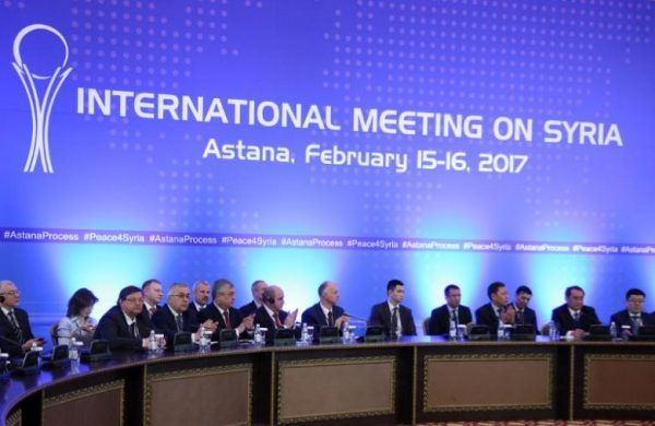 Participants of Syria peace talks attend a meeting in Astana, Kazakhstan February 16, 2017. REUTERS/Mukhtor Kholdorbekov