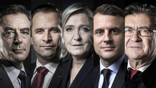 French presidential candidates . From left :François Fillon, Benoît Hamon, Marine Le Pen, Emmanuel Macron et Jean-Luc Mélenchon will face-off in the campaign's first presidential debate.