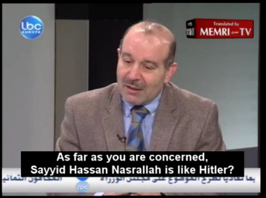 "Mustafa Alloush compared Hezbollah chief Hassan Nasrallah in 2012 to Goebbels , Hitler's right hand man and the German politician and Reich Minister of Propaganda of Nazi Germany. ""Like Goebbels he does not run the show. The show is run from Iran, by Sayyed Khamenei and the ideology founded by Imam Khomeini."