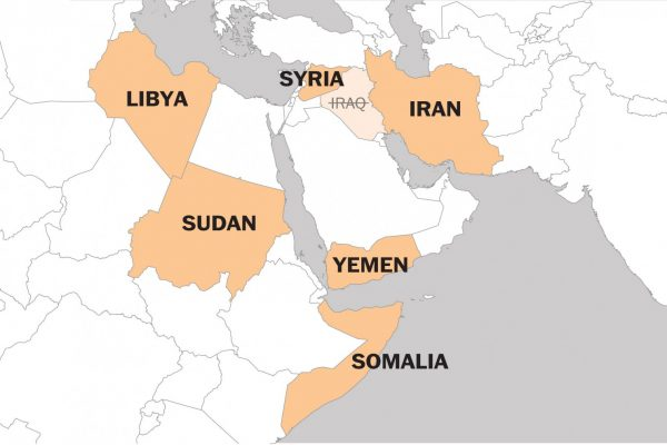 travel ban countries map