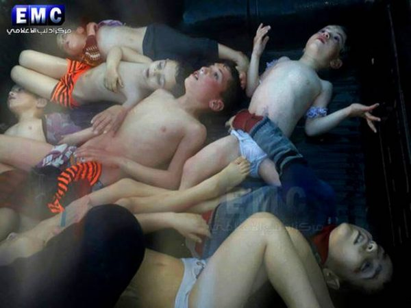 This frame grab from video provided on Tuesday April 4, 2017, by the Syrian anti-government activist group Edlib Media Center, that is consistent with independent AP reporting, shows several children that were killed in suspected chemical attack in the town of Khan Sheikhoun, northern Idlib province, Syria. The suspected chemical attack killed dozens of people on Tuesday, Syrian opposition activists said, describing the attack as among the worst in the country's six-year civil war. Edlib Media Center, via AP)