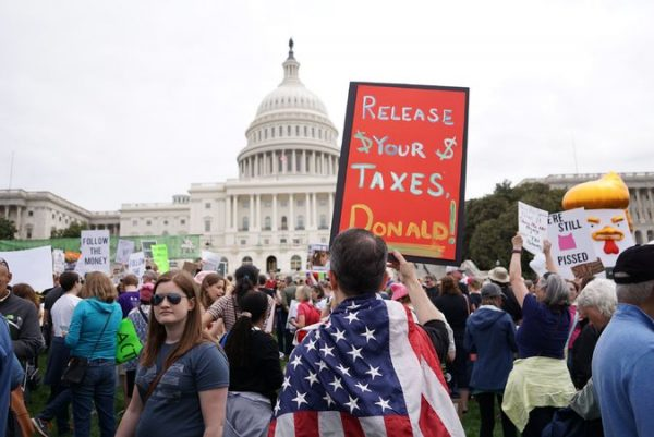 Protesters on April 16, 2017  in Washington called on  president Trump to release his tax records. Credit Mandel Ngan/Agence France-Presse — Getty Images