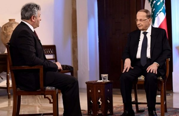 Lebanon President Michel Aoun during an interview with Sat7 channel, Saturday, April 15, 2017. ( credit Dalati&Nohra )