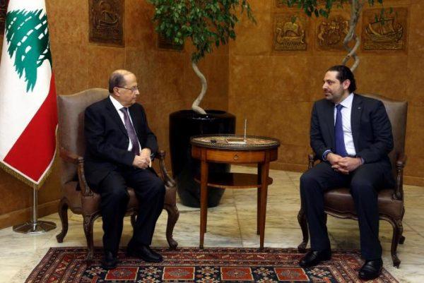 Lebanon's President Michel Aoun (L) meets with Prime Minister Saad al-Hariri at the Presidential Palace in Baabda, Lebanon April 12, 2017. Dalati Nohra/Handout via Reuters