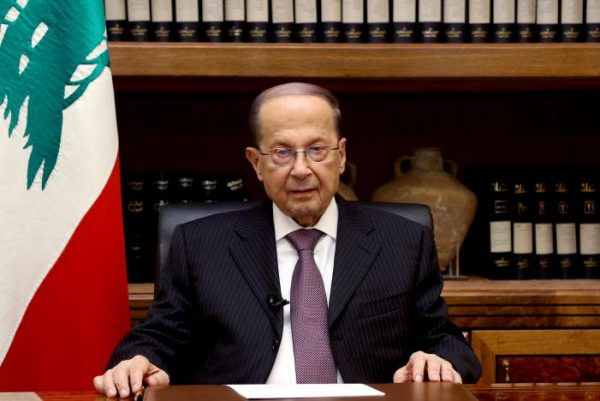Lebanon's President Michel Aoun is pictured at the Presidential Palace in Baabda, Lebanon April 12, 2017. Dalati Nohra/Handout via Reuters