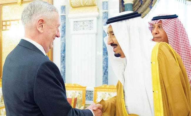 US Defense Secretary Jim Mattis is shown with Saudi Arabian king Salman