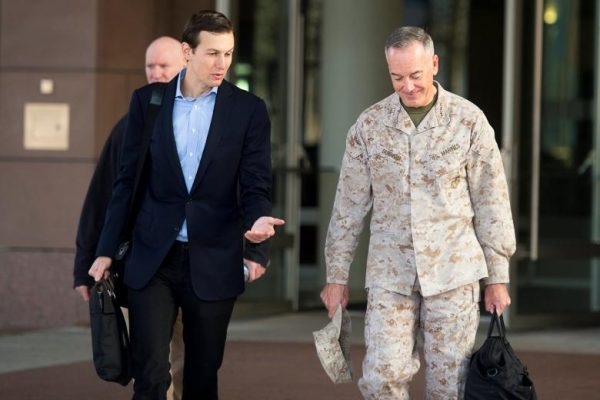 U.S. President Donald Trump's son-in-law and senior advisor Jared Kushner (L) speaks with Marine Corps Gen. Joseph F. Dunford Jr., chairman of the Joint Chiefs of Staff, before departing for Iraq from Ramstein Air Base, Germany April 3, 2017. DoD/Navy Petty Officer 2nd Class Dominique A. Pineiro/Handout via REUTERS