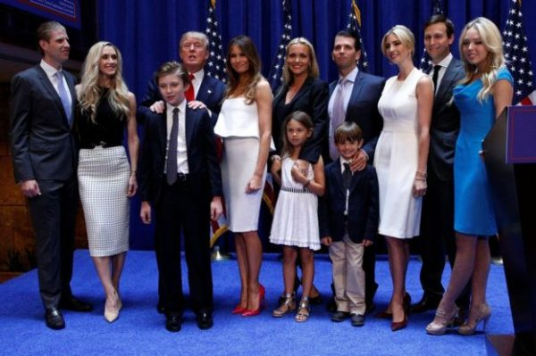 President Trump has placed his family - including Jared Kushner (second right) - at the centre of his administration