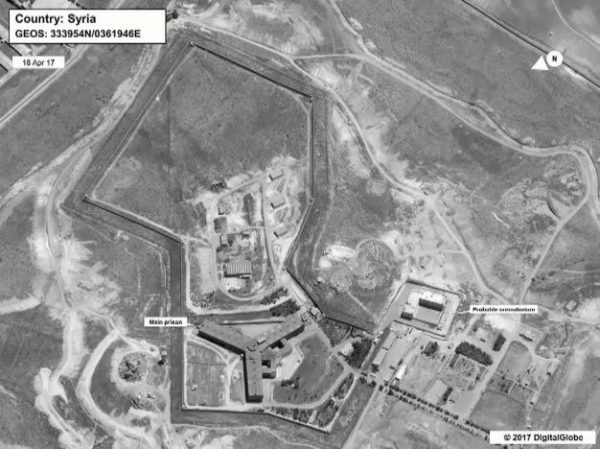 A satellite view of Sednaya prison complex near Damascus, Syria is seen in a still image from a video briefing provided by the U.S. State Department on May 15, 2017. Department of State/DigitalGlobe/Handout via REUTERS