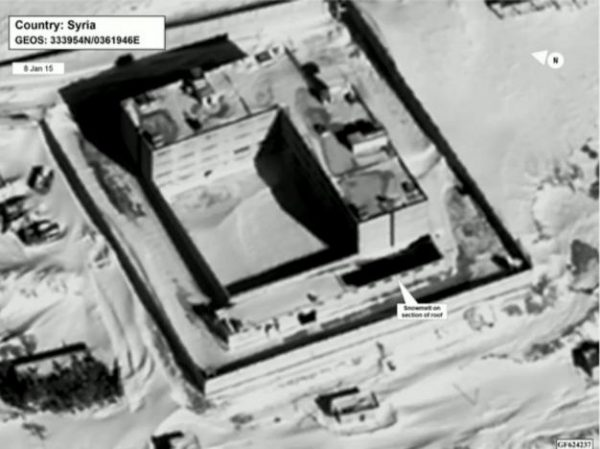 A satellite view of part of the Sednaya prison complex near Damascus, Syria is seen in a still image from a video briefing provided by the U.S. State Department on May 15, 2017. Department of State/Handout via REUTERS