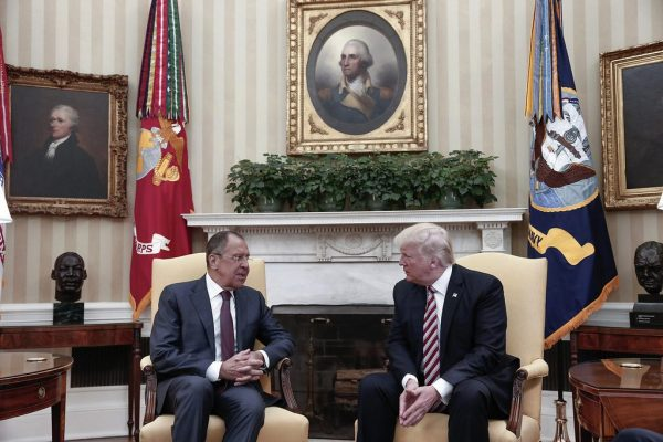 President Trump, right, meets with Russian Foreign Minister Sergei Lavrov at the White House on May 10. (photo provided by Russian Foreign Ministry because US journalists were banned from attending and only but not the Russian press