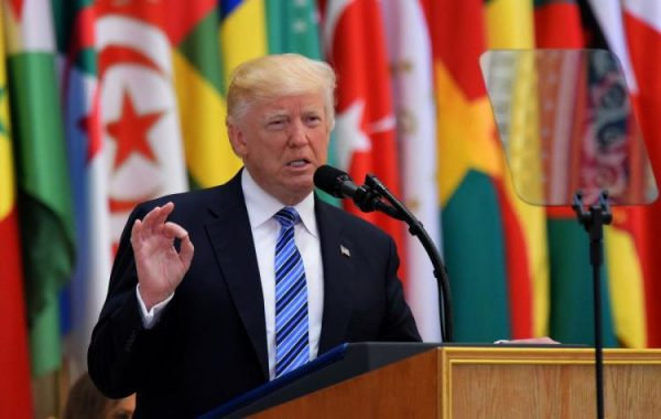 President Trump speaks at the Arabic Islamic American Summit in the King Abdulaziz Conference Center in Riyadh