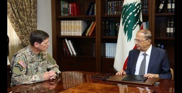 President Michel Aoun with United States Central Command's Gen. Joseph Votel