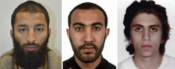 Khuram Shazad Butt, left, Rachid Redouane, centre and Youssef Zaghba have been named as the suspects in Saturday's attack at London Bridge.  (ASSOCIATED PRESS)