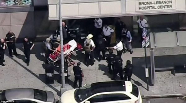 Six people were shot at Bronx Lebanon Hospital after a former employee dressed as a physician opened fire with a semi-automatic rifle. First responders are seen with stretchers outside the hospital