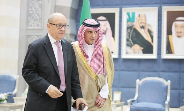 French Foreign Minister Jean-Yves Le Drian (L) visited Saudi Arabia Saturday and met with  his Saudi counterpart Adel Al-Jubeir (R) and Crown Prince Mohammed bin Salman.