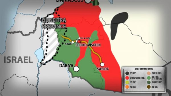 Analysis new syria ceasefire eases concerns of iran to lebanon provinces of daraa quneitra and sweida syria map 2 gumiabroncs Images