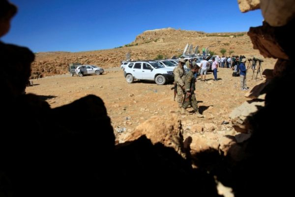Hezbollah fighters and journalists vans are seen in Jroud Arsal, near Syria-Lebanon border, August 12, 2017. REUTERS/Ali Hashisho REUTERS