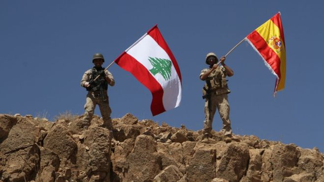 "The Lebanese army posted in the liberated territory an image as a ""salute"" to the victims of Thursday's Barcelona attack"