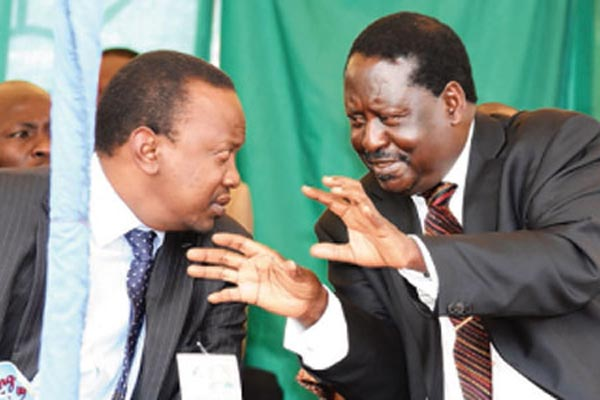 Raila Odinga of the Luo ethnic group (L) and President Uhuru Kenyatta, a Kikuyu.