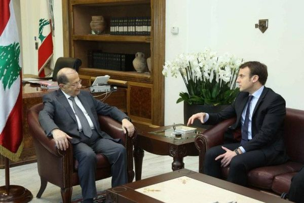 President Michel Aoun with former French presidential candidate Emmanuel Macron  who visited  Lebanon, in January 2017