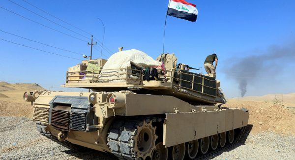 A tank belonging to Iraqi army is seen in Dibis area on the outskirts of Kirkuk