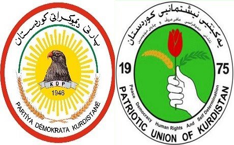 EMBLEMS of the 2 main Kurdisk political Parties , KDP (L) and PUK