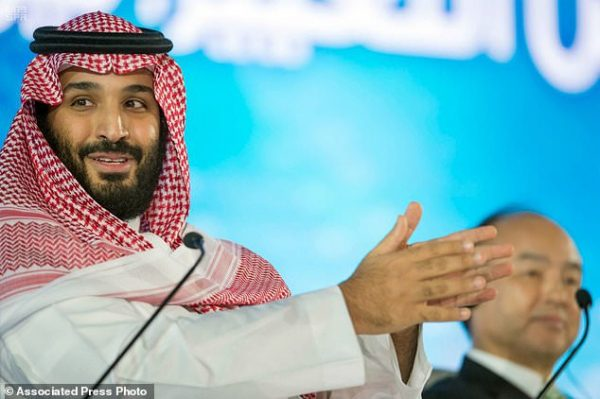 "Saudi Crown Prince Mohammed bin Salman speaks at the opening ceremony of Future Investment Initiative Conference in Riyadh, Saudi Arabia. Saudi Arabia's crown prince has promised to return the ultraconservative kingdom to a more ""moderate"" Islam.  Tuesday, Oct. 24, 2017 (Saudi Press Agency via AP, File)"