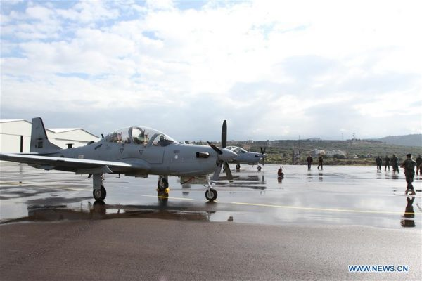Two A-29 Super Tucano airplanes are seen at a ceremony at the Lebanese Air Force (LAF) Hamat base, north of Beirut, capital of Lebanon, on Oct. 31, 2017. A ceremony was held Tuesday at the Lebanese Air Force (LAF) Hamat base where the Lebanese Air Force received from the United States two A-29 Super Tucano airplanes. (Xinhua)