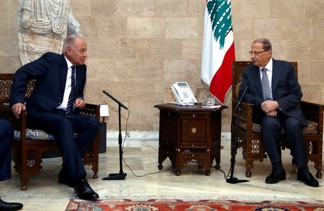 President Michel Aoun is shown meeting on Monday with Arab League chief Ahmed Abu el-Gheit at the Presidential Palace